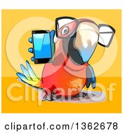 Clipart Of A Cartoon Bespectacled Scarlet Macaw Parrot Holding A Cell Phone On A Yellow And Orange Background Royalty Free Illustration