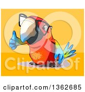 Clipart Of A Cartoon Bespectacled Scarlet Macaw Parrot Giving A Thumb Up On A Yellow And Orange Background Royalty Free Illustration