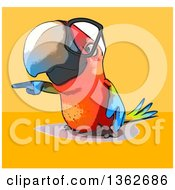 Clipart Of A Cartoon Bespectacled Scarlet Macaw Parrot Pointing On A Yellow And Orange Background Royalty Free Illustration