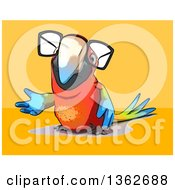 Clipart Of A Cartoon Bespectacled Scarlet Macaw Parrot Presenting On A Yellow And Orange Background Royalty Free Illustration