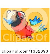 Clipart Of A Cartoon Bespectacled Scarlet Macaw Parrot Flying On A Yellow And Orange Background Royalty Free Illustration