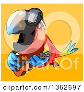 Cartoon Scarlet Macaw Parrot Wearing Sunglasses Flying And Playing A Guitar On A Yellow And Orange Background