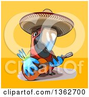 Cartoon Scarlet Macaw Parrot Wearing A Sombrero And Playing A Guitar On A Yellow And Orange Background