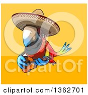 Cartoon Scarlet Macaw Parrot Wearing A Sombrero Flying And Playing A Guitar On A Yellow And Orange Background