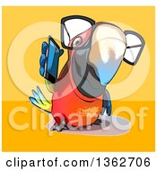 Clipart Of A Cartoon Bespectacled Scarlet Macaw Parrot Talking On A Smart Phone On A Yellow And Orange Background Royalty Free Illustration