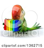 Clipart Of A 3d Green Macaw Parrot Carrying Books On A White Background Royalty Free Illustration