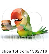 Clipart Of A 3d Green Macaw Parrot Holding And Pointing To A Double Cheeseburger On A White Background Royalty Free Illustration