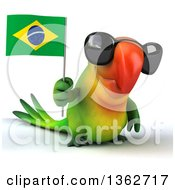 Clipart Of A 3d Green Macaw Parrot Wearing Sunglasses And Holding A Brazilian Flag On A White Background Royalty Free Illustration