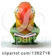 Clipart Of A 3d Green Macaw Parrot Reading A Book On A White Background Royalty Free Illustration