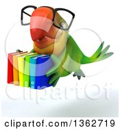 Clipart Of A 3d Bespectacled Green Macaw Parrot Flying With Books On A White Background Royalty Free Illustration