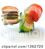 Clipart Of A 3d Green Macaw Parrot Holding Up A Double Cheeseburger On A White Background Royalty Free Illustration