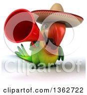 Clipart Of A 3d Green Macaw Parrot Wearing A Sombrero And Using A Megaphone On A White Background Royalty Free Illustration