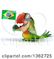 Clipart Of A 3d Green Macaw Parrot Wearing Sunglasses Holding And Pointing To A Brazilian Flag On A White Background Royalty Free Illustration