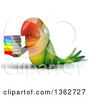 Clipart Of A 3d Green Macaw Parrot Holding A Stack Of Books On A White Background Royalty Free Illustration