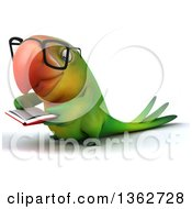 Clipart Of A 3d Bespectacled Green Macaw Parrot Reading A Book On A White Background Royalty Free Illustration