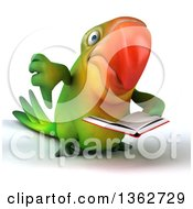 Clipart Of A 3d Green Macaw Parrot Giving A Thumb Down And Reading A Book On A White Background Royalty Free Illustration