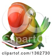 Clipart Of A 3d Green Macaw Parrot Flying And Reading A Book On A White Background Royalty Free Illustration