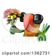 3d Green Macaw Parrot Wearing Sunglasses And Holding A Bouquet Of Flowers Over A Sign On A White Background