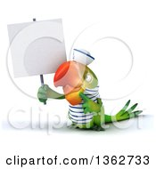 Clipart Of A 3d Green Macaw Parrot Sailor Holding And Pointing To A Blank Sign On A White Background Royalty Free Illustration