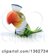 Clipart Of A 3d Green Macaw Parrot Sailor On A White Background Royalty Free Illustration