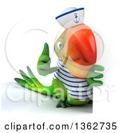 Clipart Of A 3d Green Macaw Parrot Sailor Giving A Thumb Up Around A Sign On A White Background Royalty Free Illustration