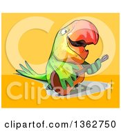Cartoon Green Macaw Parrot Playing A Guitar On A Yellow And Orange Background