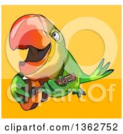 Cartoon Green Macaw Parrot Playing A Guitar And Flying On A Yellow And Orange Background