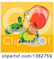 Clipart Of A Cartoon Green Macaw Parrot Pointing Outwards On A Yellow And Orange Background Royalty Free Illustration