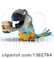 Clipart Of A 3d Blue And Yellow Macaw Parrot Wearing Sunglasses And Holding A Double Cheeseburger On A White Background Royalty Free Illustration