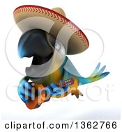 Clipart Of A 3d Blue And Yellow Macaw Parrot Wearing A Sombrero Flying And Playing A Guitar On A White Background Royalty Free Illustration