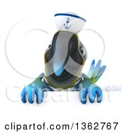 Clipart Of A 3d Blue And Yellow Macaw Parrot Sailor Over A Sign On A White Background Royalty Free Illustration