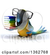Clipart Of A 3d Bespectacled Blue And Yellow Macaw Parrot Holding A Stack Of Books On A White Background Royalty Free Illustration