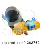 Clipart Of A 3d Blue And Yellow Macaw Parrot Flying With A Pencil On A White Background Royalty Free Illustration