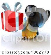 Clipart Of A 3d Blue And Yellow Macaw Parrot Wearing Sunglasses And Holding Up A Gift On A White Background Royalty Free Illustration