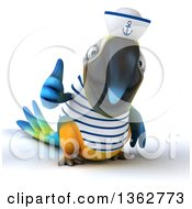 Clipart Of A 3d Blue And Yellow Macaw Parrot Sailor Giving A Thumb Up On A White Background Royalty Free Illustration