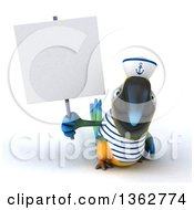 Clipart Of A 3d Blue And Yellow Macaw Parrot Sailor Holding A Blank Sign On A White Background Royalty Free Illustration