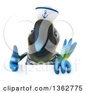 Clipart Of A 3d Blue And Yellow Macaw Parrot Sailor Giving A Thumb Up Over A Sign On A White Background Royalty Free Illustration
