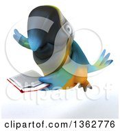 Clipart Of A 3d Blue And Yellow Macaw Parrot Flying And Reading A Book On A White Background Royalty Free Illustration