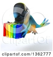 Clipart Of A 3d Blue And Yellow Macaw Parrot Flying With Books On A White Background Royalty Free Illustration