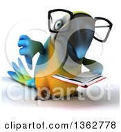 Clipart Of A 3d Bespectacled Blue And Yellow Macaw Parrot Giving A Thumb Down And Reading A Book On A White Background Royalty Free Illustration