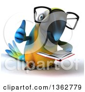 Clipart Of A 3d Bespectacled Blue And Yellow Macaw Parrot Giving A Thumb Up And Reading A Book On A White Background Royalty Free Illustration