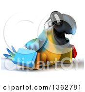 Clipart Of A 3d Blue And Yellow Macaw Parrot Wearing Sunglasses And Carrying Shopping Bags On A White Background Royalty Free Illustration