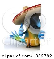 Clipart Of A 3d Blue And Yellow Mexican Macaw Parrot Giving A Thumb Up Around A Sign On A White Background Royalty Free Illustration