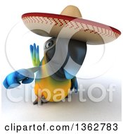 Clipart Of A 3d Blue And Yellow Mexican Macaw Parrot Pointing Outwards On A White Background Royalty Free Illustration