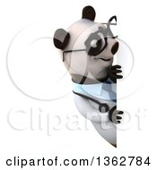 Clipart Of A 3d Bespectacled Doctor Or Veterinarian Panda Looking Around A Sign On A White Background Royalty Free Illustration