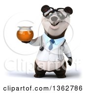 Clipart Of A 3d Bespectacled Doctor Or Veterinarian Panda Holding A Honey Jar On A White Background Royalty Free Illustration