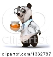 Clipart Of A 3d Bespectacled Doctor Or Veterinarian Panda Holding A Honey Jar And Walking On A White Background Royalty Free Illustration