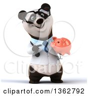 Clipart Of A 3d Bespectacled Doctor Or Veterinarian Panda Holding And Pointing To A Piggy Bank On A White Background Royalty Free Illustration