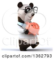 Clipart Of A 3d Bespectacled Doctor Or Veterinarian Panda Holding A Piggy Bank And Walking On A White Background Royalty Free Illustration