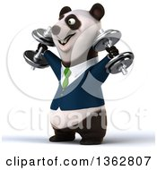 Clipart Of A 3d Bespectacled Business Panda In A Green Tie Working Out Doing Shoulder Presses With Dumbbells On A White Background Royalty Free Illustration